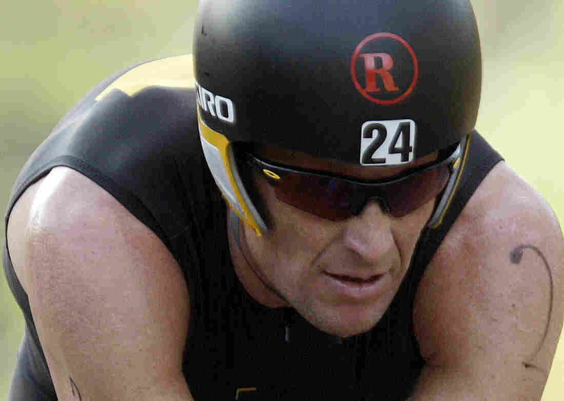 Lance Armstrong competes in the Ironman Panama 70.3.