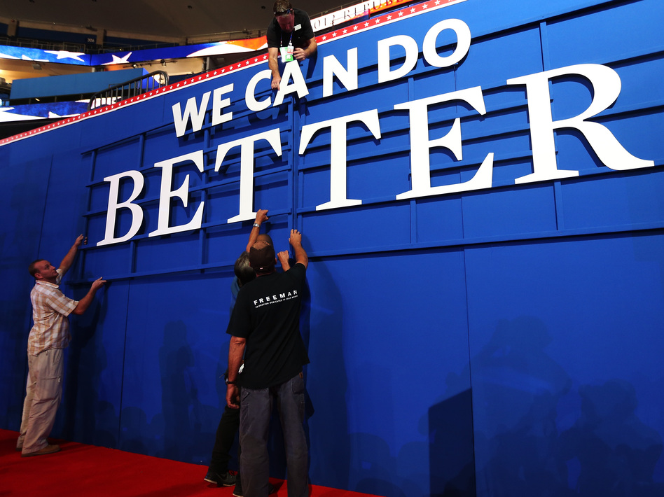The Republican message: Workers were putting up a sign Sunday inside the Tampa Bay Times Forum, where the 2012 Republican National Convention is set to begin.