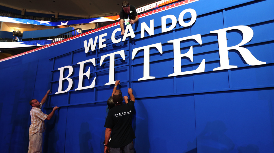 The Republican message: Workers were putting up a sign Sunday inside the Tampa Bay Times Forum, where the 2012 Republican National Convention is set to begin. (Getty Images)