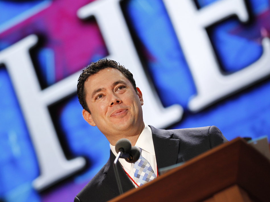 Utah Rep. Jason Chaffetz stands on the stage Saturday during preparation for the convention. (AP)