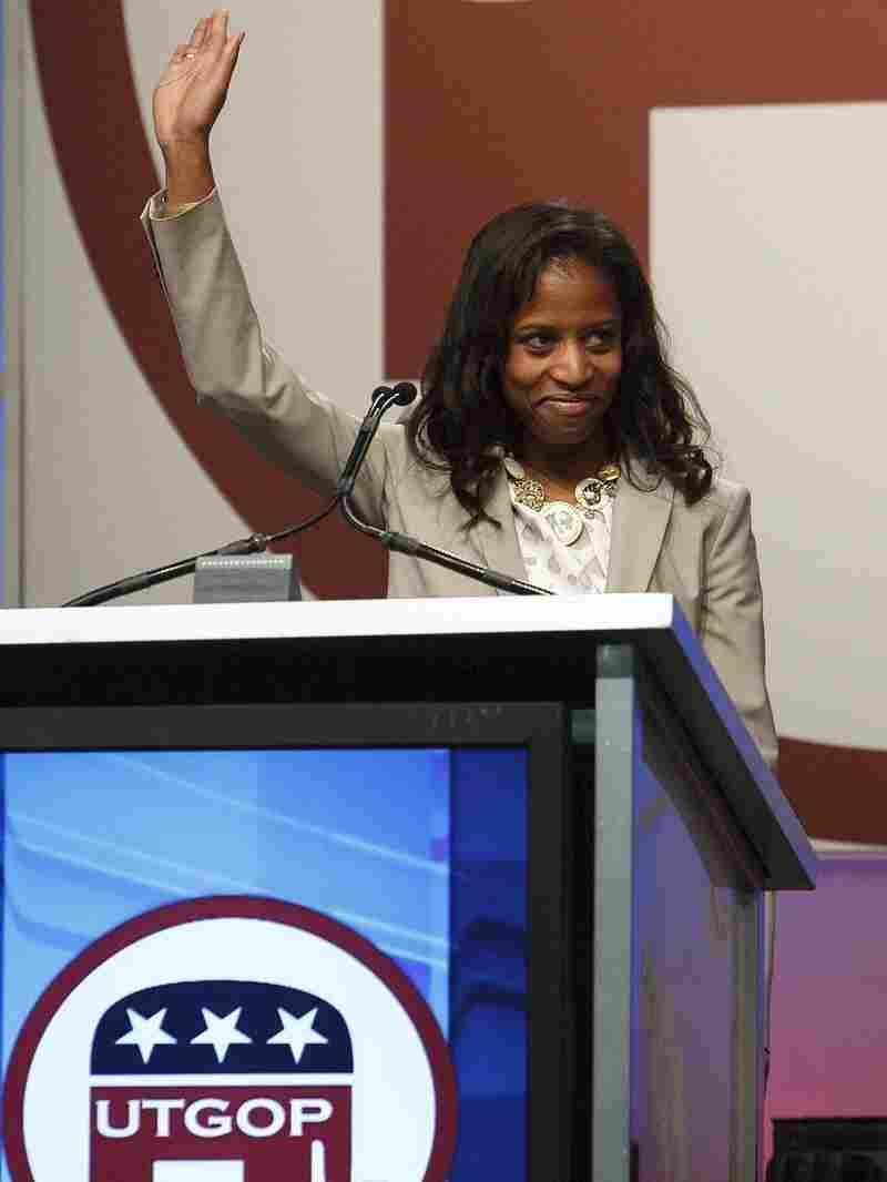 Saratoga Springs Mayor Mia Love, who is running for a House seat, speaks at the Republican state convention April 21, in Sandy, Utah. Love would be the first black, female Republican elected to Congress.