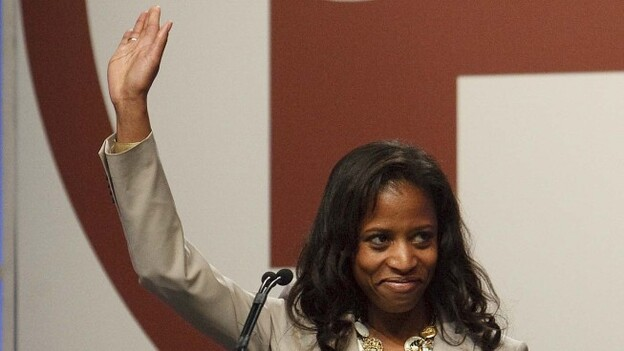 Saratoga Springs Mayor Mia Love, who is running for a House seat, speaks at the Republican state convention April 21, in Sandy, Utah. Love would be the first black, female Republican elected to Congress. (The Salt Lake Tribune via AP)