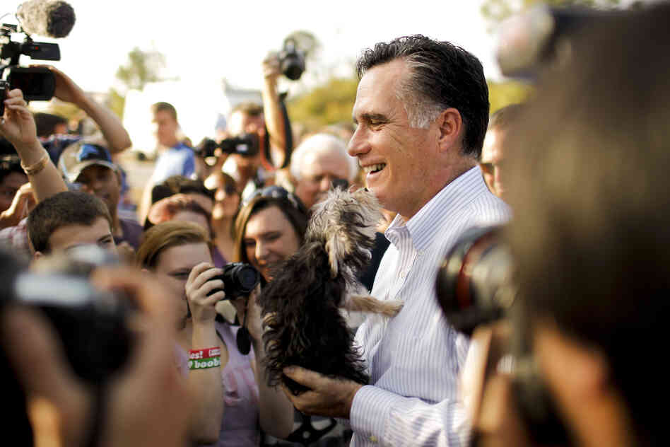 Republican presidential candidate Mitt Romney gets a sniff from a curious pooch while greeting supporters at a campaign event in Lehigh Acres, Fla., in January.