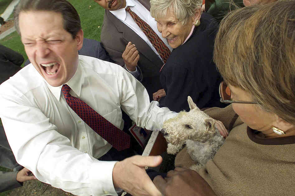 "When Vice President Al Gore, then the Democratic nominee for president, greeted a supporter with a dog outside a Missouri rally in November 2000, he asked what kind of dog it was. The owner's answer: ""a Democrat."""