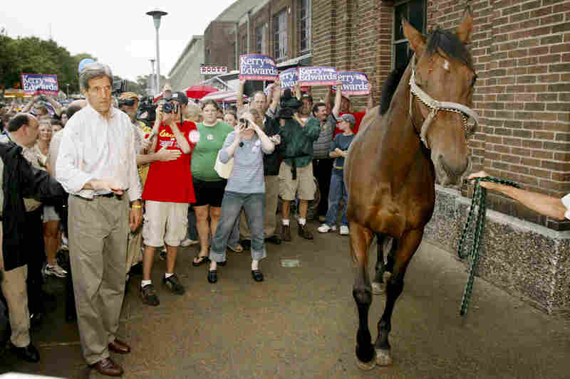 While visiting the Minnesota State Fair in Saint Paul in 2004, Democratic presidential candidate John Kerry had to avoid a spooked horse.