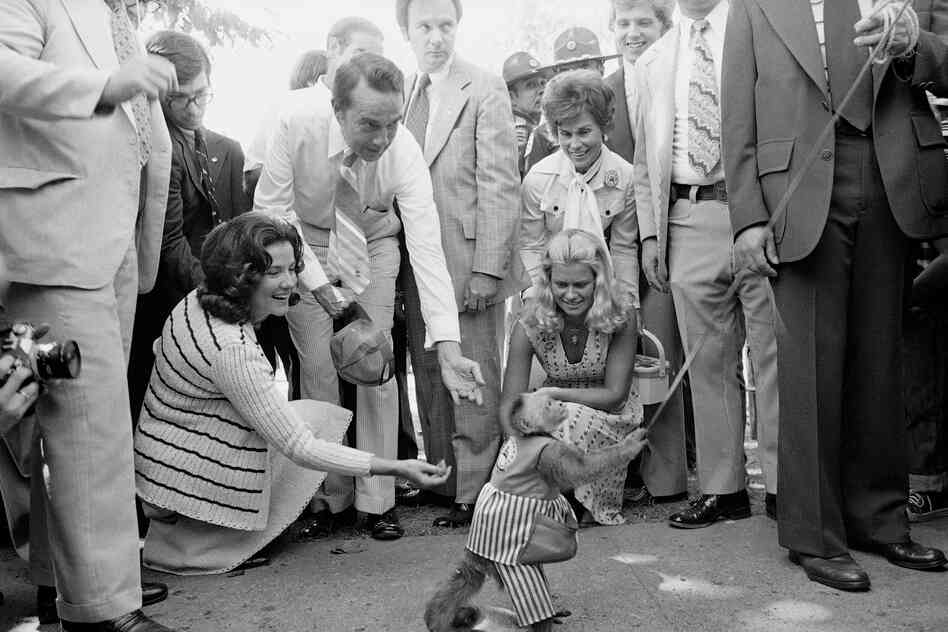 In 1976, Republican vice presidential candidate Robert Dole and his wife, Elizabeth, gave coins to an organ-grinder's monkey at the Iowa State Fair.