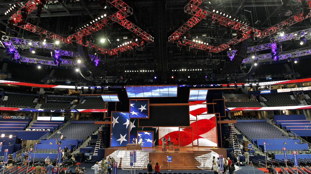 Workers prepare for the Republican National Convention inside the Tampa Bay Times Forum in Tampa, Fla., on Saturday.