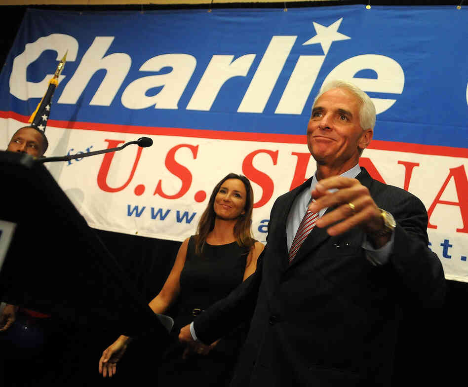 Florida independent senate candidate Charlie Crist and his wife Carole, attend the Election Night Gathering 2010.