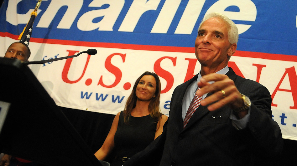 Florida independent senate candidate Charlie Crist and his wife Carole, attend the Election Night Gathering 2010. (Getty Images)