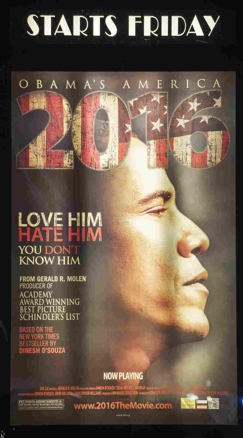 "A promotional poster is seen at the Rave Fairfax Corner movie theater in Fairfax, Virginia, announcing the new movie ""2016: Obama's America"" that opened in theaters across the US, August 24, 2012."