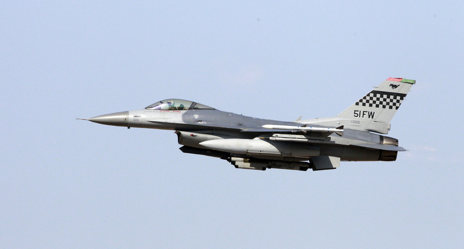 A U.S. Air Force F-16 multi role fighter Falcon during an exercise at the U.S. airbase in Osan, South Korea.