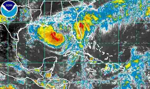 A satellite view of Isaac churning in the Gulf of Mexico.