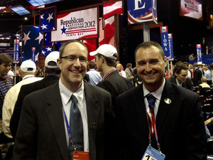 Maine delegates Ron Morrell (left) and state representative Aaron Libby support Ron Paul.