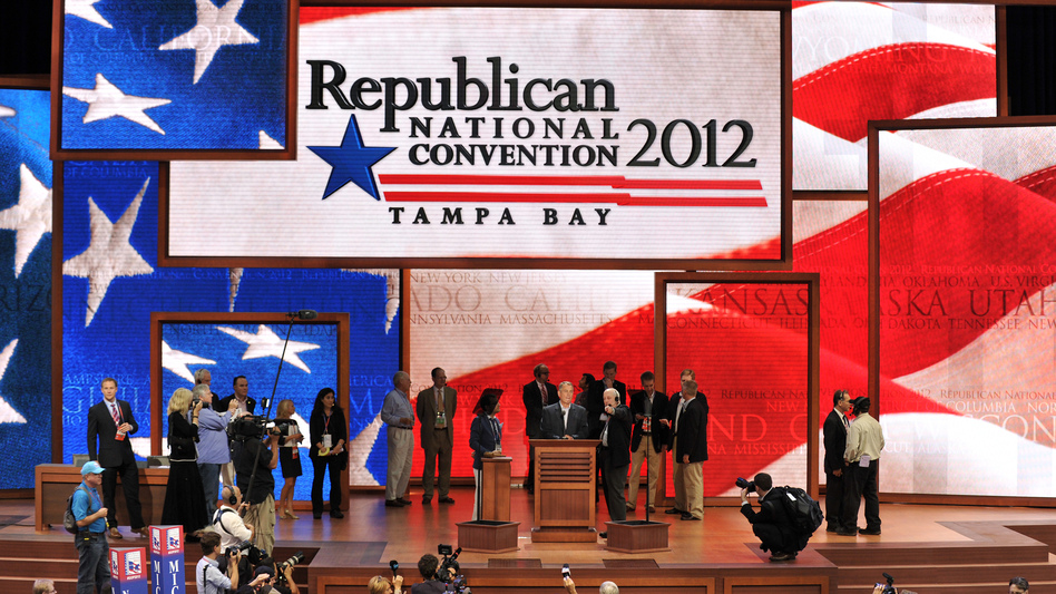 Final preparations were under way Monday for the opening of the Republican National Convention in Tampa, Fla. Democrats are holding their convention next week in Charlotte, N.C. (AFP/Getty Images)