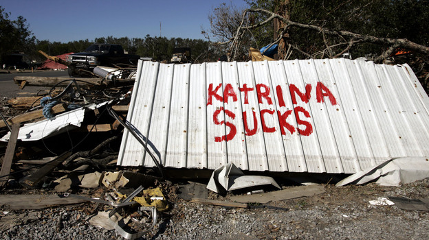 A sign was displayed on a highway near New Orleans in the wake of Hurricane Katrina in 2005. (AP)