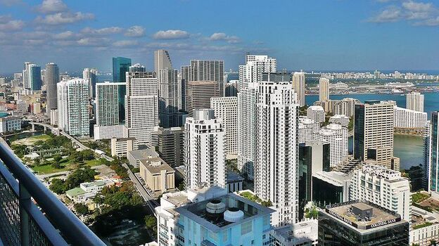 The skyline of the northern Brickell neighborhood in downtown Miami. Its residential population has more than doubled in the past decade. (Wikimedia Commons)
