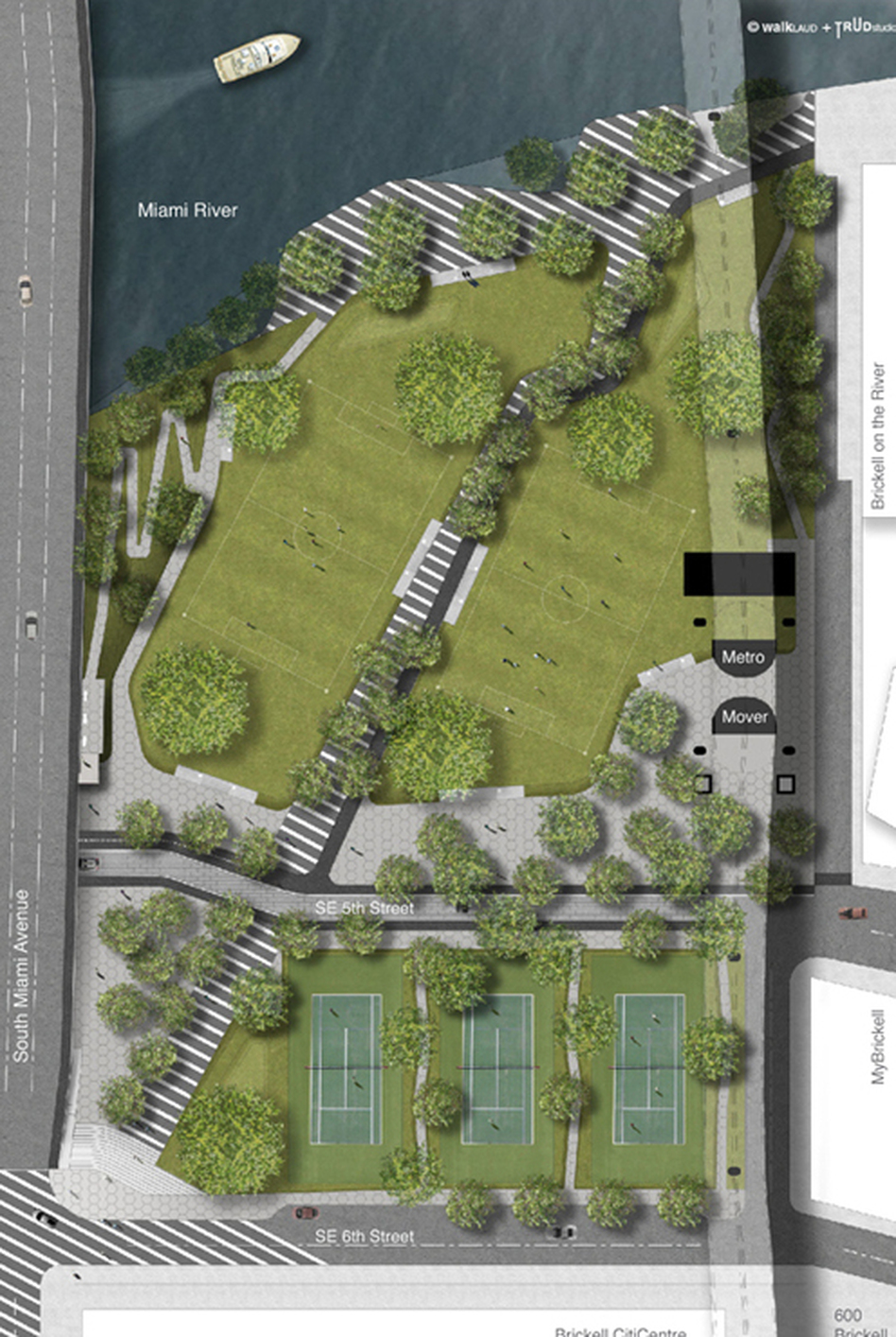 A site plan Brickell Green Space commissioned of the park it hopes to see built in downtown Miami. The space would include tennis courts, open fields and a jogging loop. (Courtesy of Brickell Green Space)
