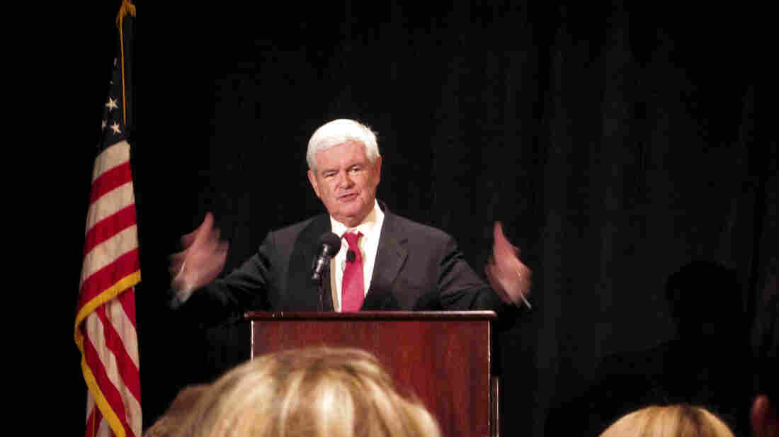 "Former House Speaker Newt Gingrich, a one-time history professor, educates delegates gathering in Tampa, Fla., on how to get the party message out. The event was billed as ""Newt U."""