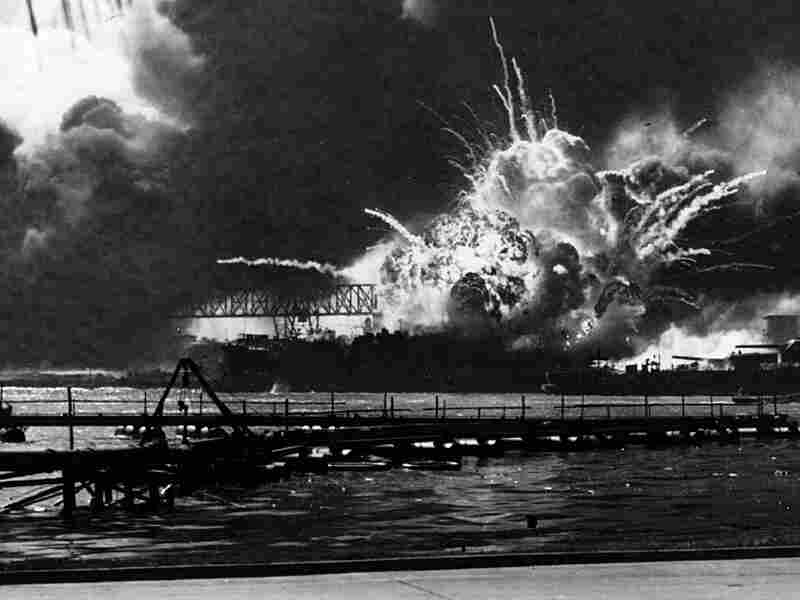 The USS Shaw explodes during the Japanese raid on Pearl Harbor December 7, 1941.