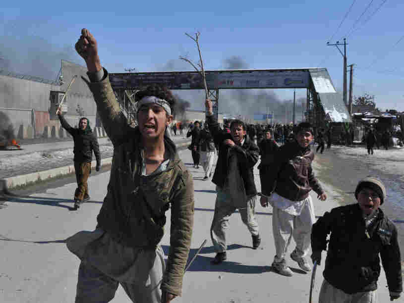 In Kabul in February, demonstrators shouted anti-American slogans, protesting the burning of Qurans.