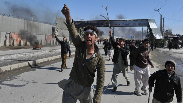 In Kabul in February, demonstrators shouted anti-American slogans, protesting the burning of Qurans. (AFP/Getty Images)