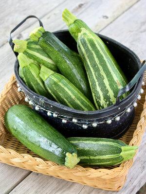 A basket of zucchini