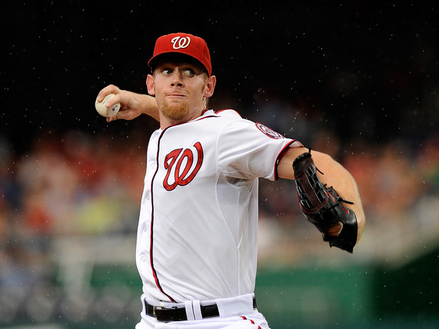 Stephen Strasburg of the Washington Nationals pitches against the Atlanta Braves at Nationals Park last week.