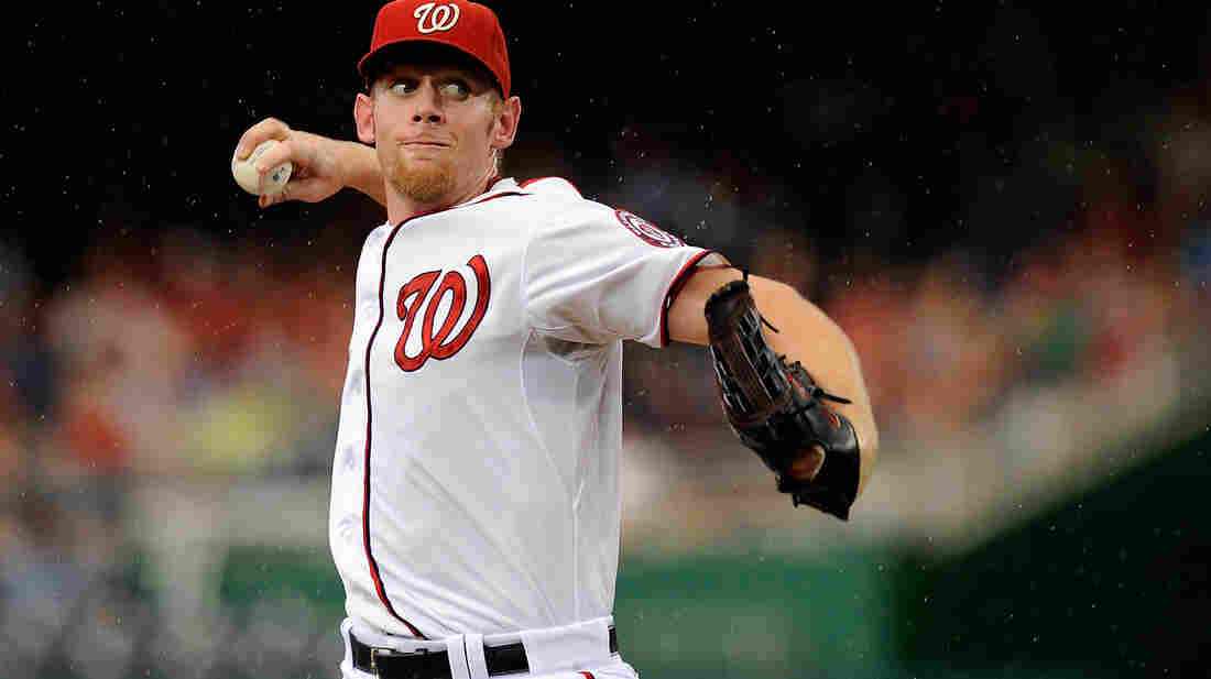 Stephen Strasburg of the Washington Nationals pitches against the Atlanta Braves at Nationals Park last week.