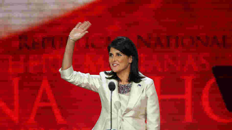 "South Carolina Gov. Nikki Haley speaks Tuesday at the Republican National Convention in Tampa, Fla. Earlier in the day, she said: ""It's offensive to me as a woman and as a minority that Democrats can go and say, 'That party hates you,' and can get away with that."""