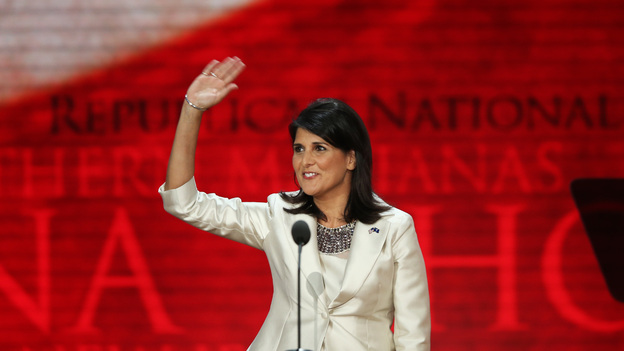 "South Carolina Gov. Nikki Haley speaks Tuesday at the Republican National Convention in Tampa, Fla. Earlier in the day, she said: ""It's offensive to me as a woman and as a minority that Democrats can go and say, 'That party hates you,' and can get away with that."" (Getty Images)"
