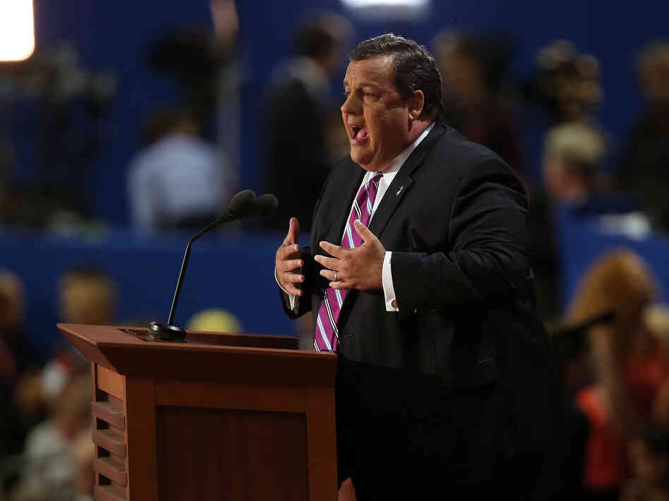 New Jersey Gov. Chris Christie delivers the keynote address at the Republican National Convention in Tampa, Fla. Tuesday.