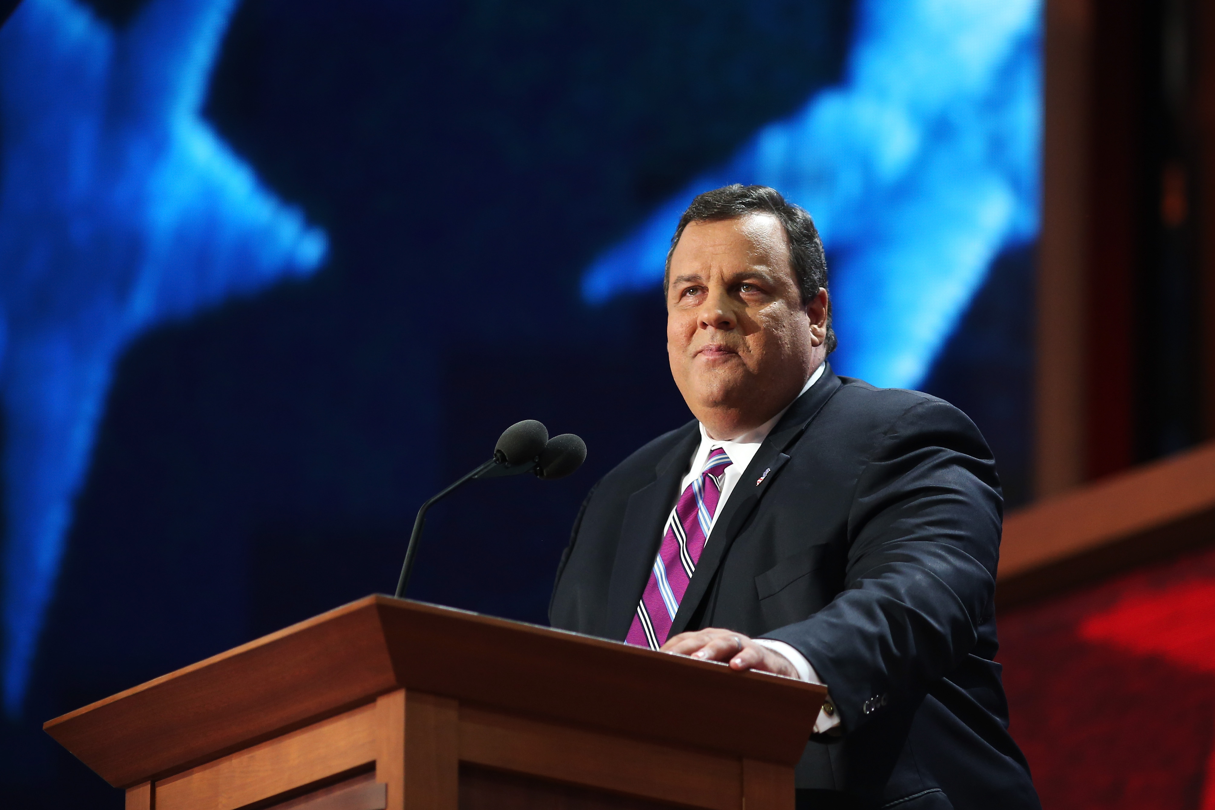 "New Jersey Gov. Chris Christie delivers the keynote address during the convention. ""There's only one thing missing now,"" says New Jersey Gov. Chris Christie. ""Leadership. It takes leadership that you don't get from reading a poll. You see, Mr. President - real leaders don't follow polls. Real leaders change polls."""