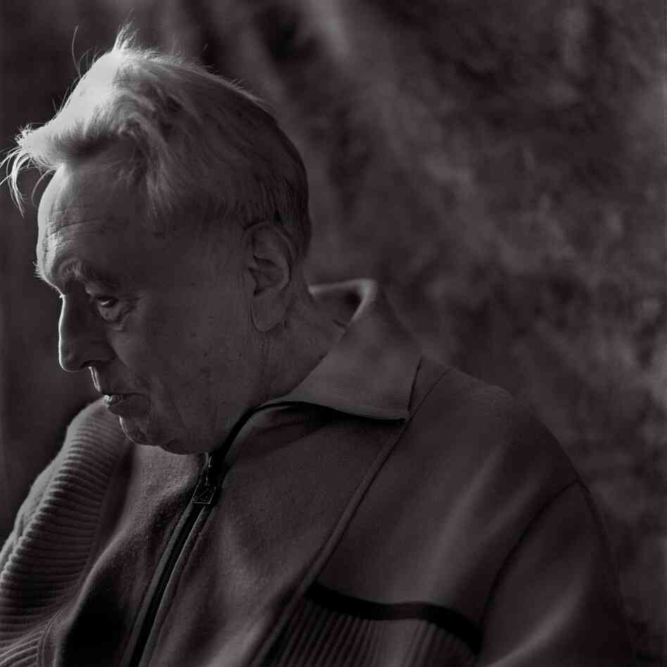 "Felix Kolmer, born in 1922, at his apartment, Prague, June 2009. ""Several months before he was transported ... he had asked to be assigned to the evening Terezin gravedigging detail instead of his usual carpentry job. ... He was allowed to dig the common grave that would hold the remains of his mother, who died the previous day. However, he was not allowed to attend the burial."""
