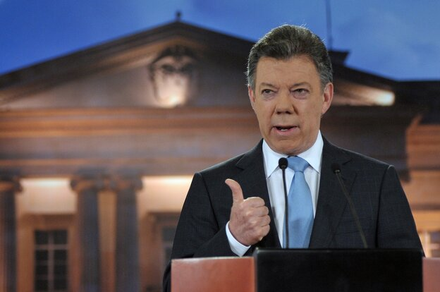 Colombian President Juan Manuel Santos delivering a speech to the nation at Narino Palace in Bogota.