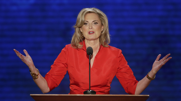 Ann Romney, wife of Republican presidential nominee Mitt Romney, addresses the Republican National Convention in Tampa, Fla., on Tuesday. (AP)
