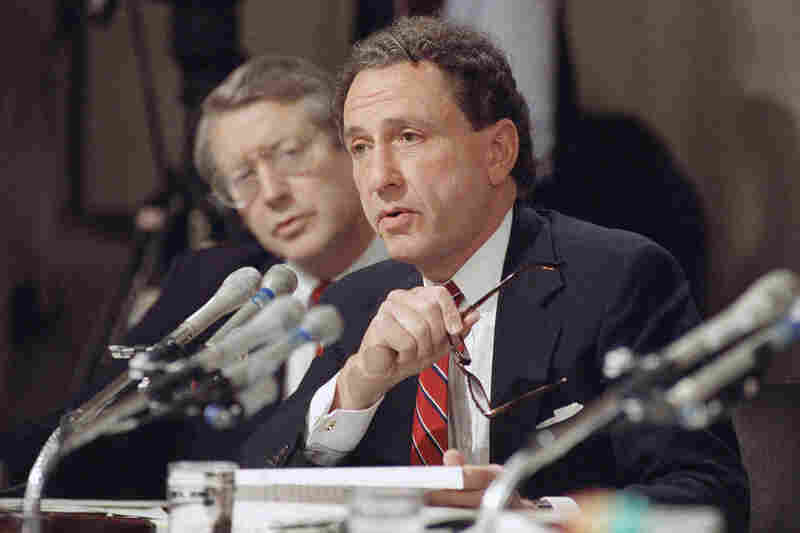 Senate Judiciary Committee member Arlen Specter, R-Pa., questions witnesses defending law professor Anita Hill at the confirmation hearings for Supreme Court nominee Clarence Thomas on Oct. 13, 1991. Hill had alleged that Thomas sexually harassed her in the 1980s.