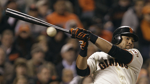 San Francisco Giants' Melky Cabrera fouls off a pitch. Cabrera was suspended Aug 15 for 50 games without pay after testing positive for high levels of testosterone. (AP)