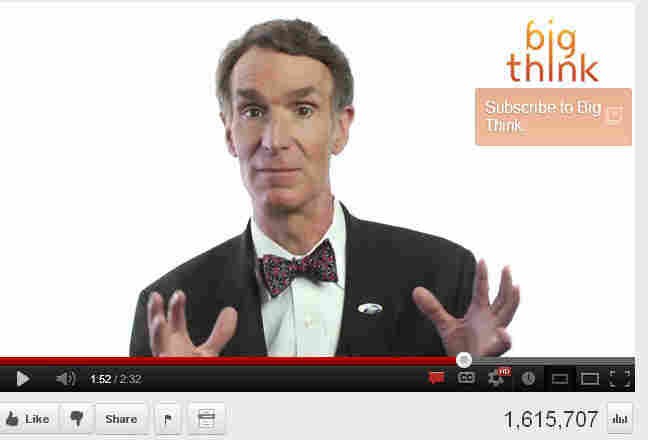A screenshot of Bill Nye discussing creationism and evolution in a popular YouTube video.