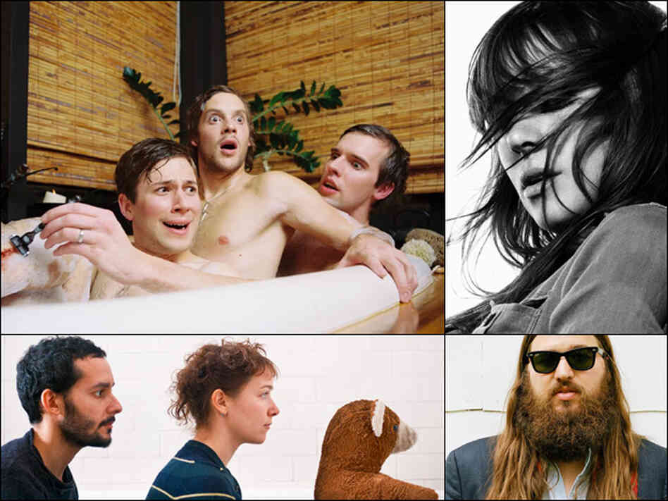 Menomena (clockwise from upper left), Cat Power, Matthew E. White, Buke & Gase