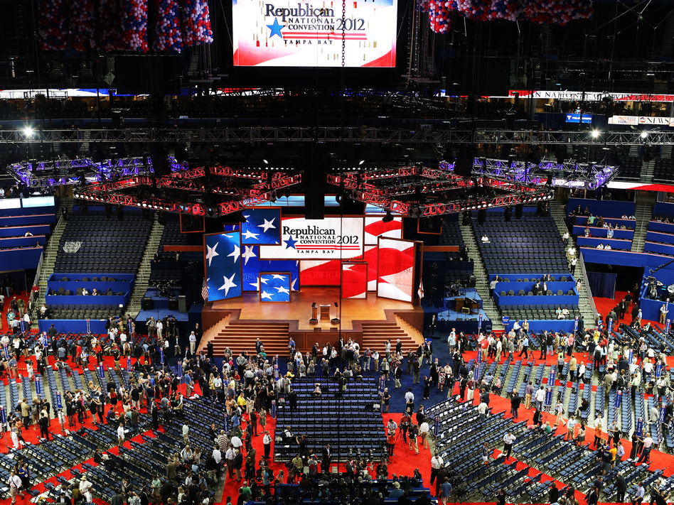 The stage is set at the Republican National Convention in Tampa. (Spencer Platt/Getty Images)