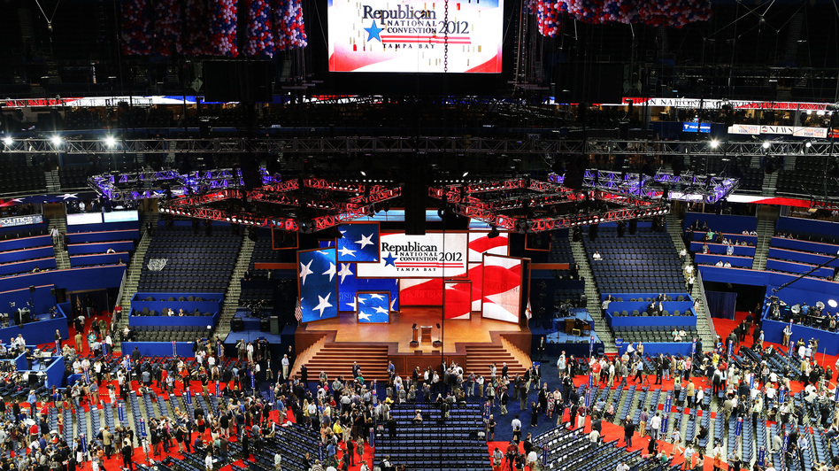 The stage is set at the Republican National Convention in Tampa. (Getty Images)