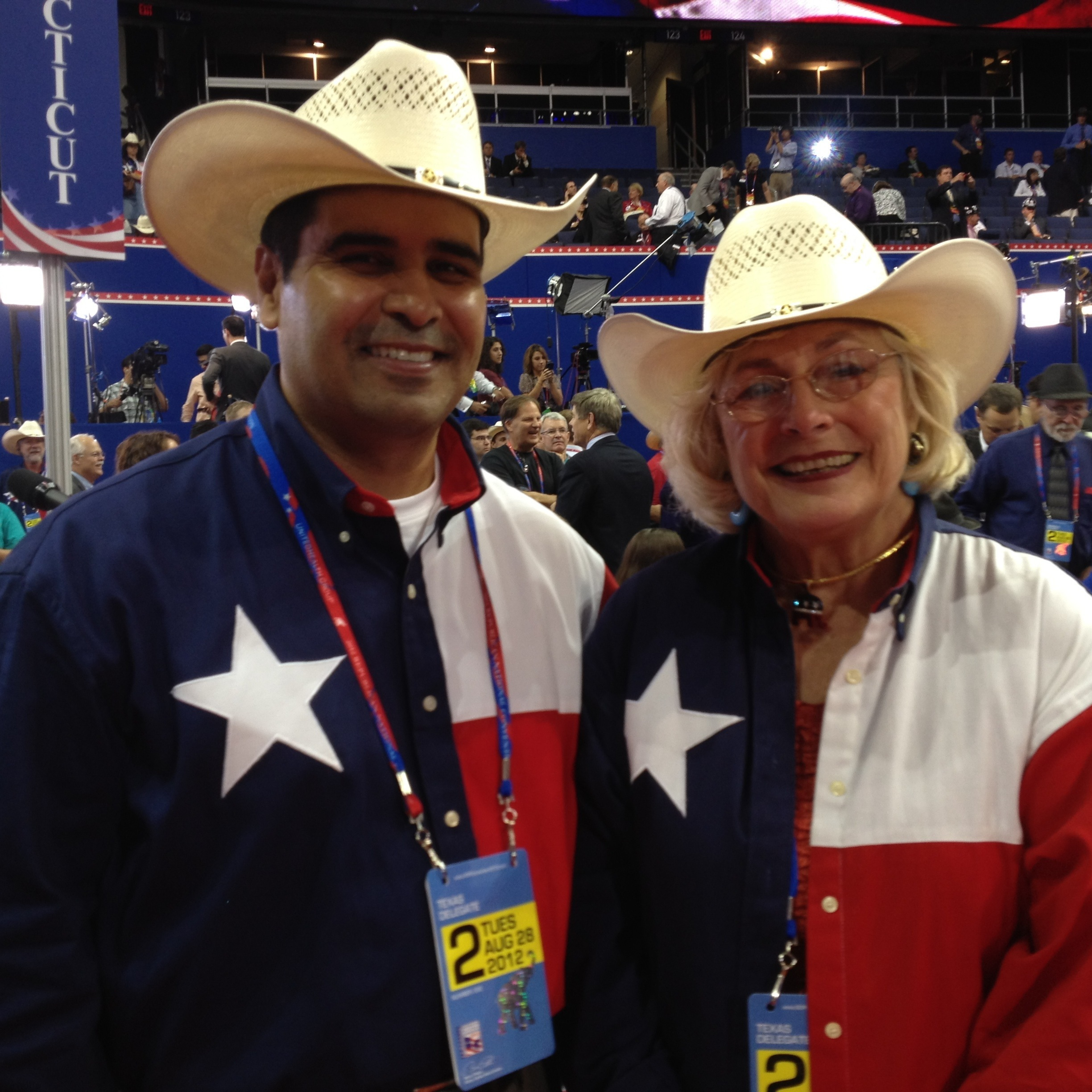 Howdy from Tampa: Texas delegates Gil Hernandez, 43, of Corpus Christi, and JoAnn McCracken, 73, of Houston, were proudly showing their colors Tuesday at the Republican National Convention.