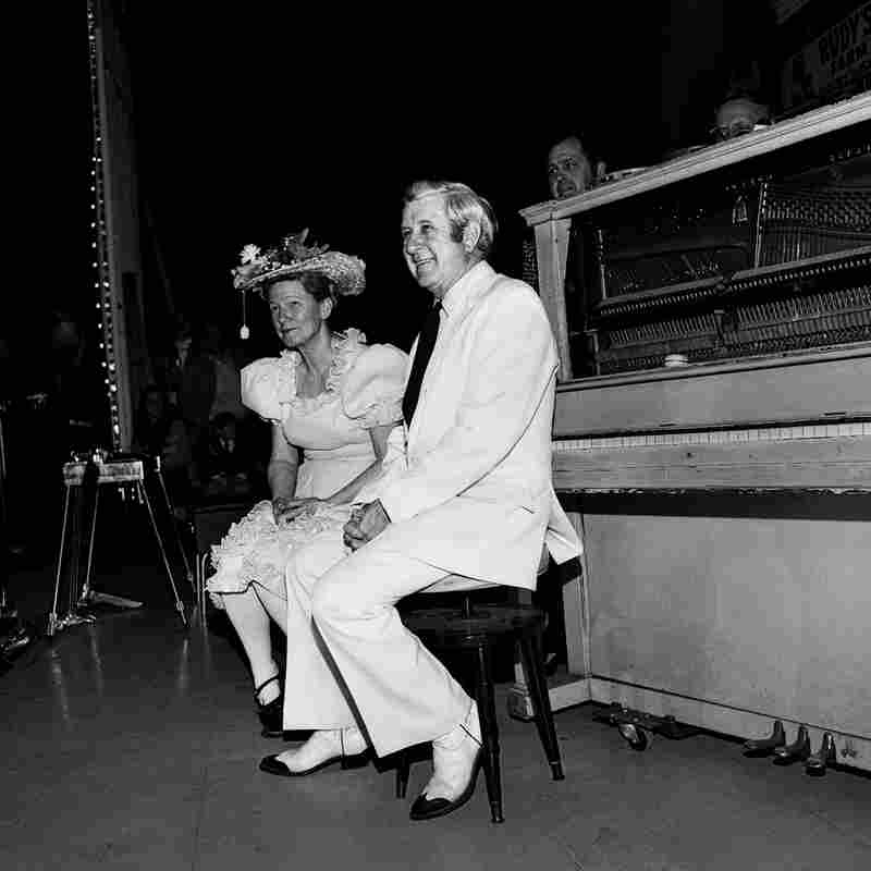 """Minnie Pearl and Pee Wee King, Ryman Auditorium, Nashville, Tenn., 1973. """"Minnie Pearl was the pre-eminent country comedian of her day. With a price tag hanging from her hat, she regaled her fans with tales from Grinder's Switch, a fictional town that influenced Garrison Keillor and his Lake Wobegon."""""""
