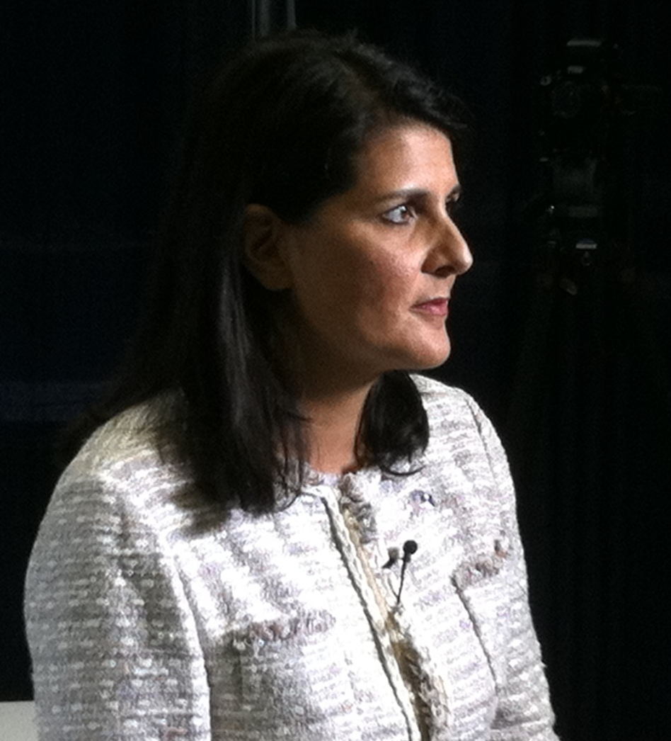 South Carolina Gov. Nikki Haley (R) after her sit-down with <em>USA Today</em> and Gannett editors in Tampa this morning.