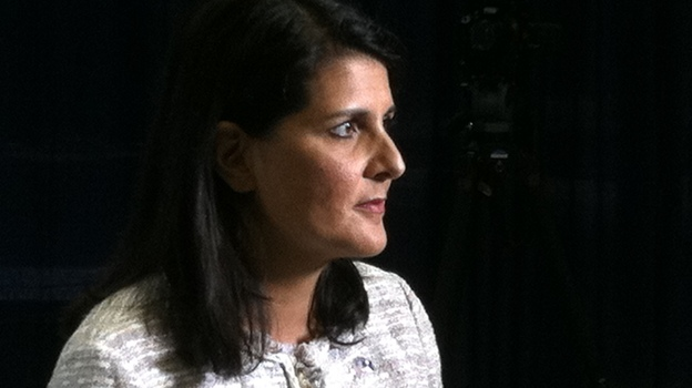 South Carolina Gov. Nikki Haley (R) after her sit-down with USA Today and Gannett editors in Tampa this morning. (NPR)