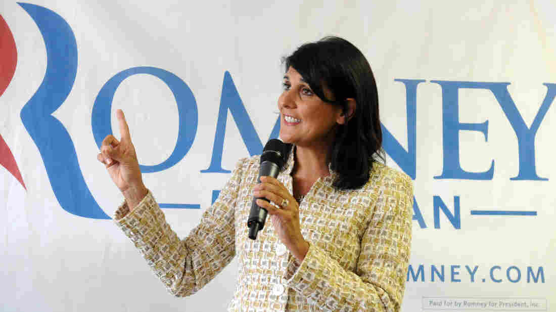South Carolina Gov. Nikki Haley campaigns in Ann Arbor, Mich., on July 31 for Mitt Romney.