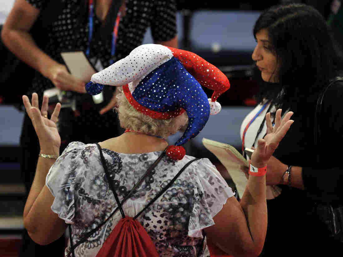In Tampa Tuesday, a colorfully dressed delegate spoke to reporters on the floor of the Republican National Convention.
