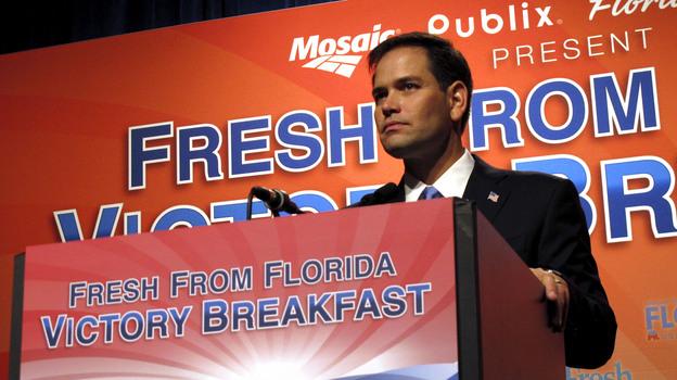 Florida Sen. Marco Rubio speaks Tuesday in Tampa. (StateImpact Florida)