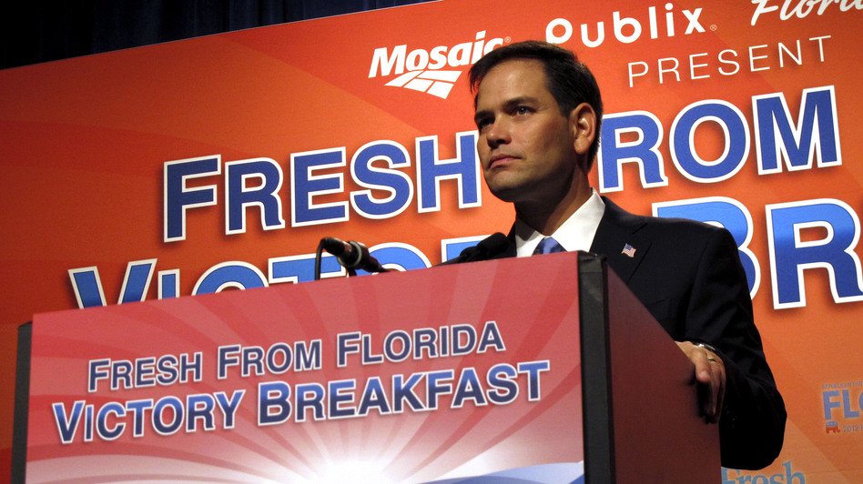 Florida Sen. Marco Rubio speaks Tuesday in Tampa.