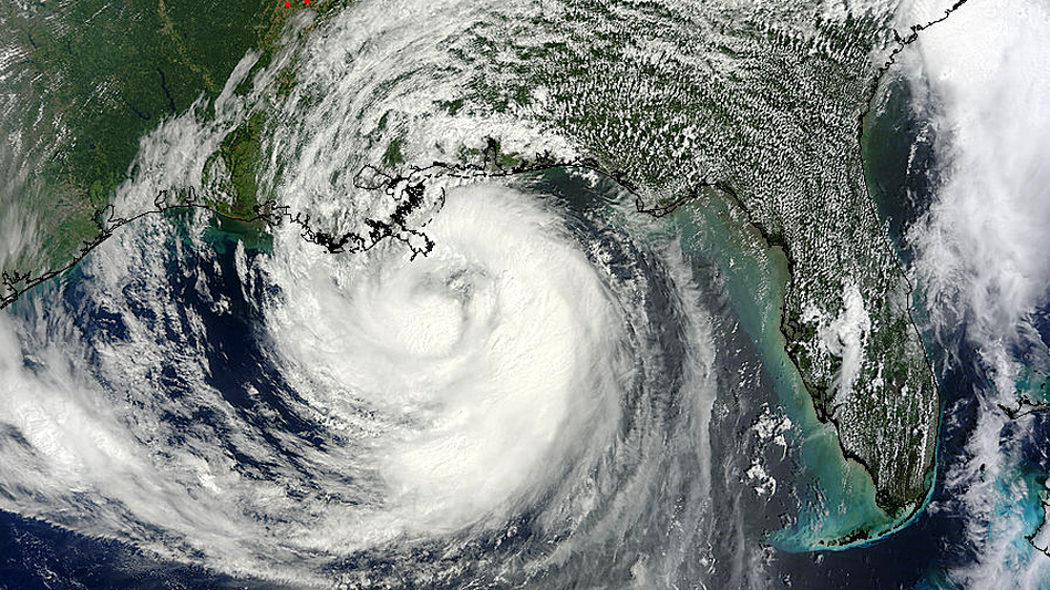 A NASA satellite captured an image of Hurricane Isaac as it approached Louisiana Tuesday. The storm has been moving at around 10 miles per hour. (NASA Goddard MODIS Rapid Response Team)